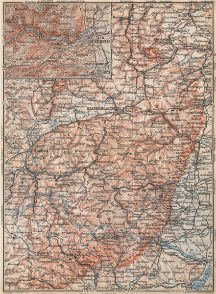 Associate Product PFÄLZERWALD. PALATINATE FOREST. Rheinpfalz. Kaiserslautern Weissenburg 1926 map