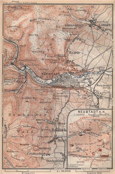 NEUSTADT AN DER WEINSTRAßE & WINZINGEN. Neustadt an der Haardt karte 1926 map