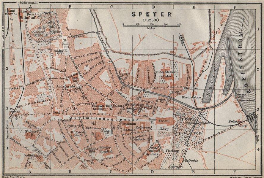 Associate Product SPEYER town city stadtplan. Rhineland-Palatinate, Deutschland. Spires 1926 map