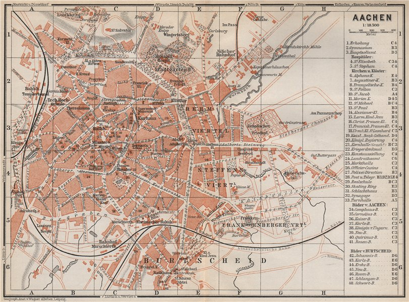 Associate Product AACHEN town city stadtplan. Northrhine-Westfalia. Aix-la-Chapelle 1889 old map