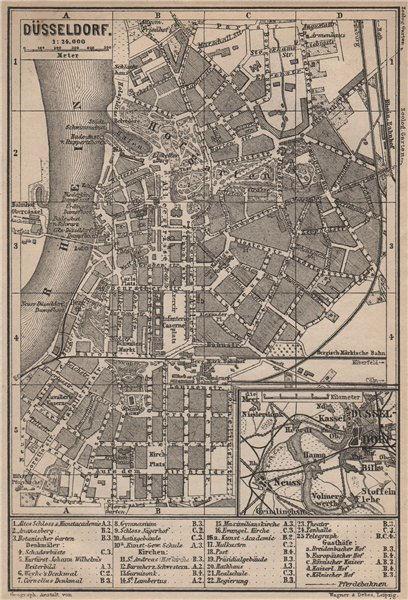 DÜSSELDORF town city stadtplan. Northrhine-Westfalia. Dusseldorf karte 1889 map