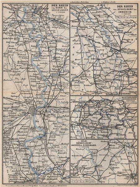 Associate Product RHEIN/RHINE. Bonn-Köln-Dusseldorf-Emmerich. Westphälische Eisenbahnen 1889 map