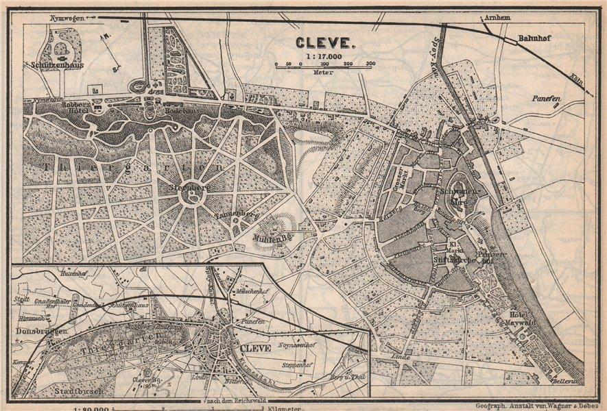 Associate Product KLEVE (CLEVES, KLEEF, KLEFF) town city stadtplan. Northrhine-Westfalia 1889 map