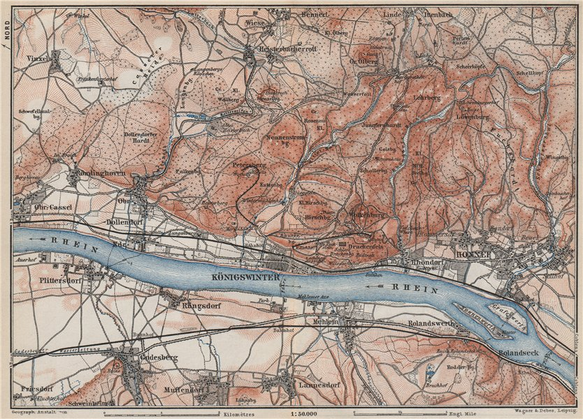 Associate Product SIEBENGEBIRGE Seven Hills Königswinter Bad Honnef Northrhine-Westfalia 1889 map