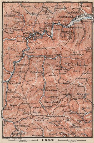 Associate Product AHR & ADENAUER BACH VALLEYS. Ahrweiler Altenahr topo-map. Germany 1889 old