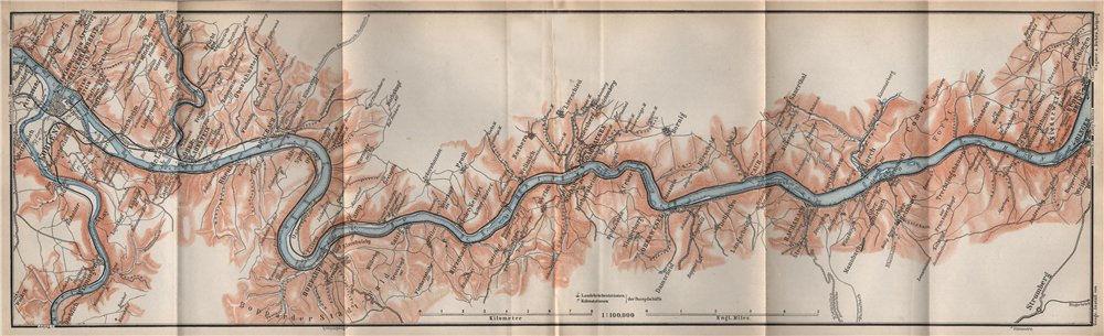 Associate Product RHINE/RHEIN. KOBLENZ-BINGEN Oberes Mittelrheintal Rhine Gorge topo-map 1889