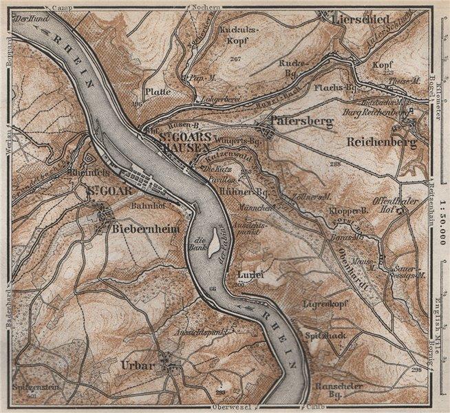 Associate Product SANKT GOAR ST GOARSHAUSEN Oberes Mittelrheintal Rhine Gorge karte SMALL 1889 map