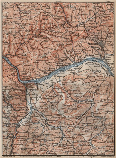 THE RHEINGAU topo-map. Wiesbaden Lorch Rüdesheim Mainz. Germany karte 1889