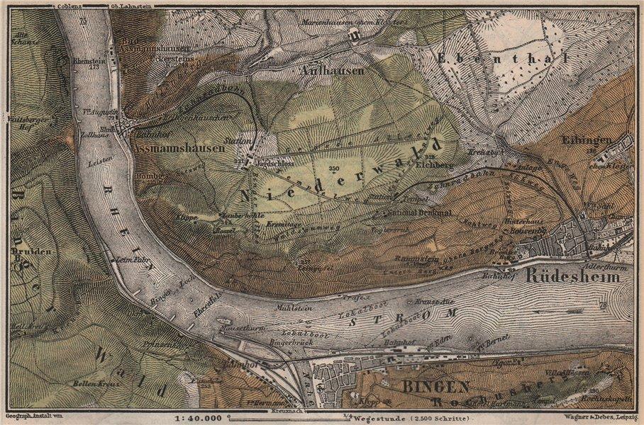 Associate Product RÜDESHEIM BINGEN. Niederwald. Oberes Mittelrheintal. Rhine Gorge karte 1889 map