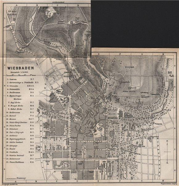 Associate Product WIESBADEN antique town city stadtplan. Hessen karte. BAEDEKER 1889 old map