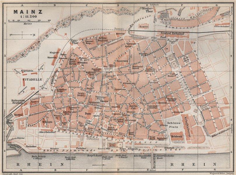 Associate Product MAINZ antique town city stadtplan. Rhineland-Palatinate. Mayence karte 1889 map
