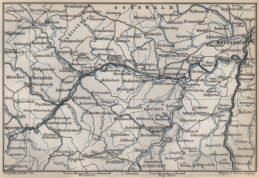 Associate Product NAHETAL. Idar-Oberstein Kirn Monzingen Rüdesheim Kreuznach Sobernheim 1889 map