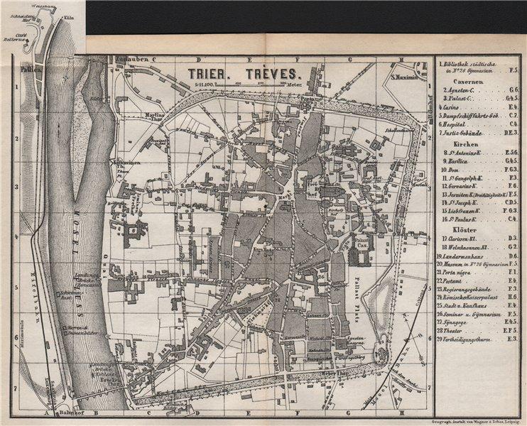 Associate Product TRIER town city stadtplan. Rhineland-Palatinate. Trèves Treves karte 1889 map