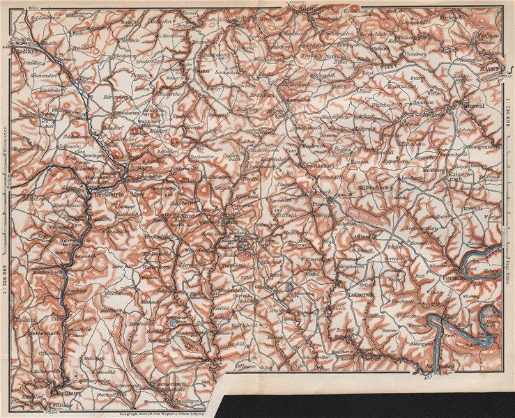 Associate Product VULKANEIFEL. THE VOLCANIC EIFEL topo-map. Gerolstein. Germany karte 1889