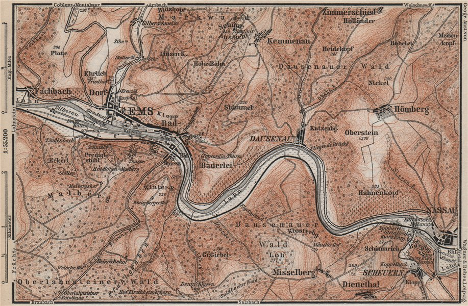 Associate Product BAD EMS & NASSAU environs. Dausenau Lahn. Deutschland karte. BAEDEKER 1889 map