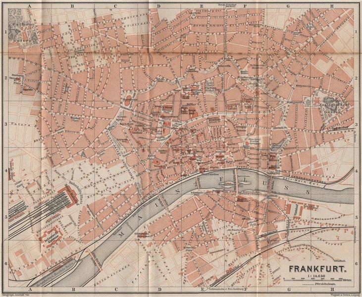 Associate Product FRANKFURT AM MAIN antique town city stadtplan. Hessen karte. BAEDEKER 1889 map