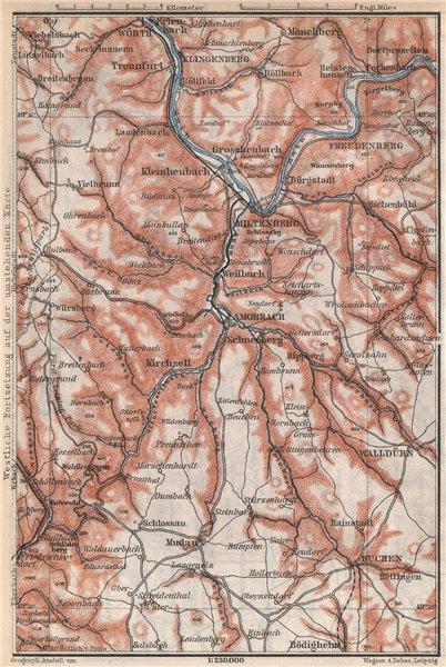 Associate Product ÖST/EAST ODENWALD topo-map. Miltenberg Walldürn Klingenburg. Germany 1889