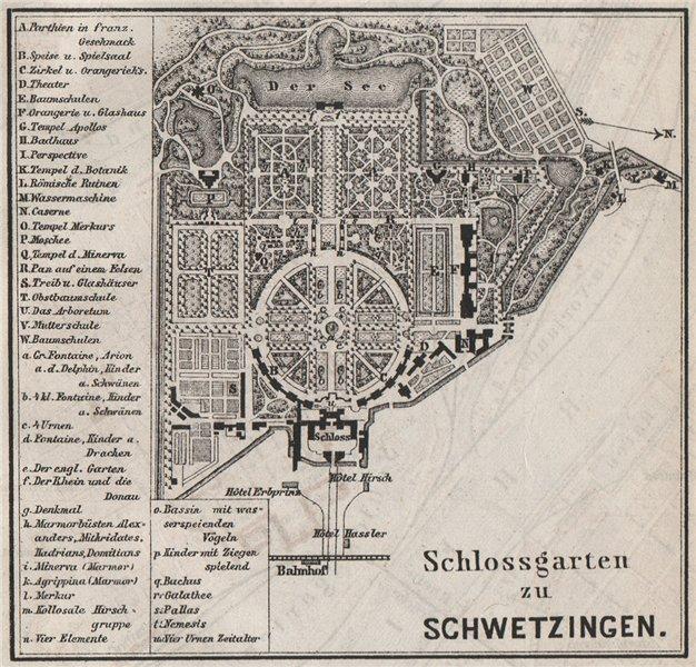 Associate Product SCHLOSSGARTEN SCHWETZINGEN Palace ground plan. Baden-Württemberg. SMALL 1889 map