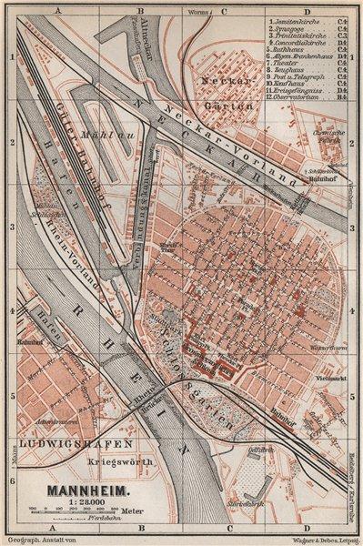 Associate Product MANNHEIM antique town city stadtplan. Baden-Württemberg karte 1889 old map