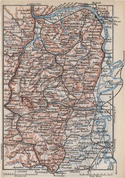 Associate Product RHEINHESSEN. RHENISH HESSE. Mainz Mannheim Worms Kreuznach. Germany 1889 map