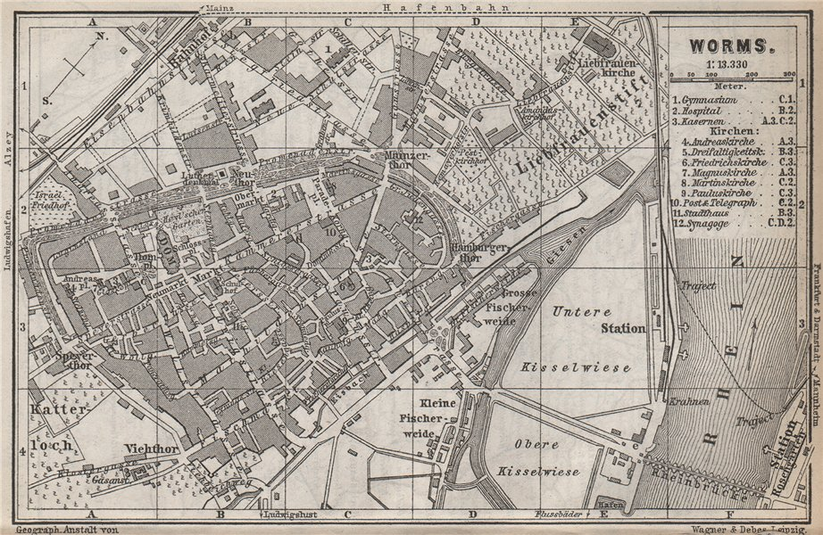 Associate Product WORMS town city stadtplan. Rhineland-Palatinate, Deutschland karte 1889 map