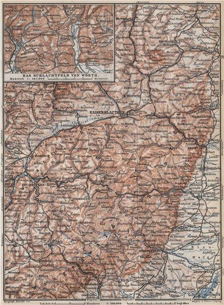 PFÄLZERWALD. PALATINATE FOREST. Rheinpfalz. Kaiserslautern Weissenburg 1889 map