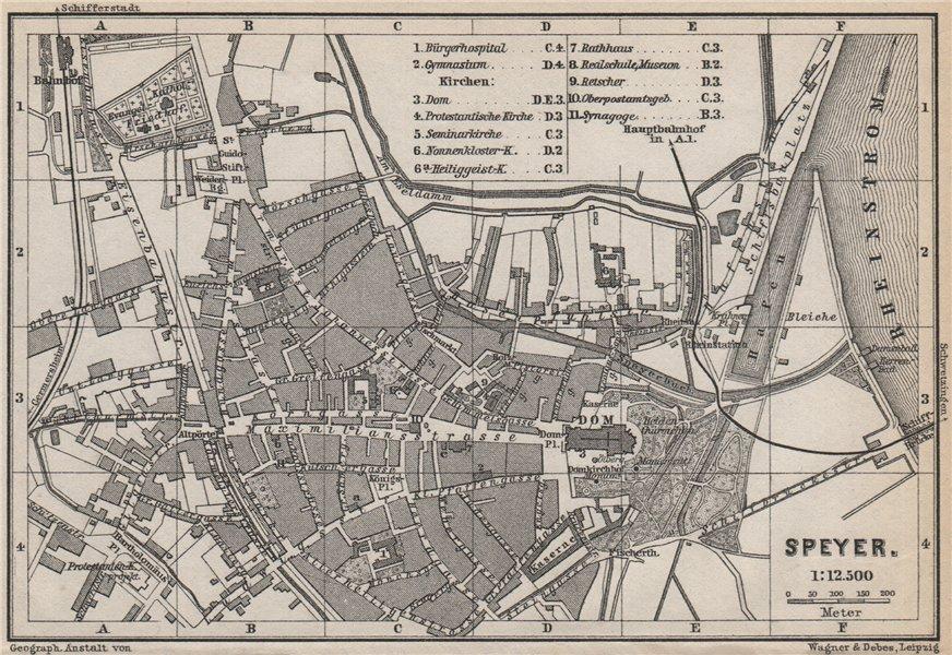 Associate Product SPEYER town city stadtplan. Rhineland-Palatinate, Deutschland. Spires 1889 map