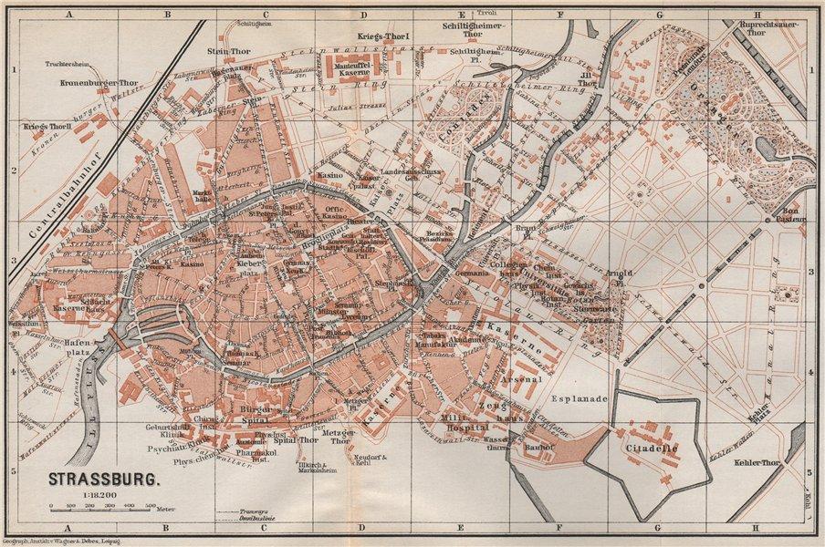 Associate Product STRASBOURG town city plan de la ville. Straßburg. Bas-Rhin carte 1889 old map