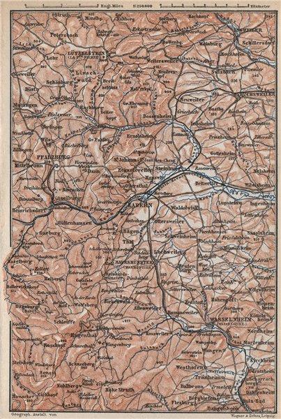 Associate Product NORTHERN VOSGES MOUNTAINS. Wasselonne Saverne Phalsbourg. Bas-Rhin 1889 map