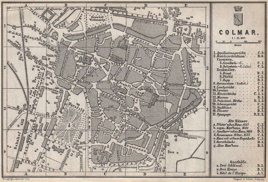 Associate Product COLMAR town city plan. Haut-Rhin, Alsace, France. Kolmar Colmer carte 1889 map