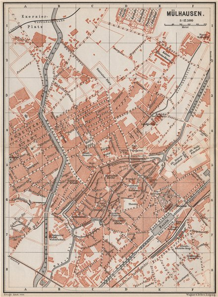 Associate Product MULHOUSE(MÜLHAUSEN MILHÜSA MILHÜSE) town city plan. Bas-Rhin, Alsace 1889 map