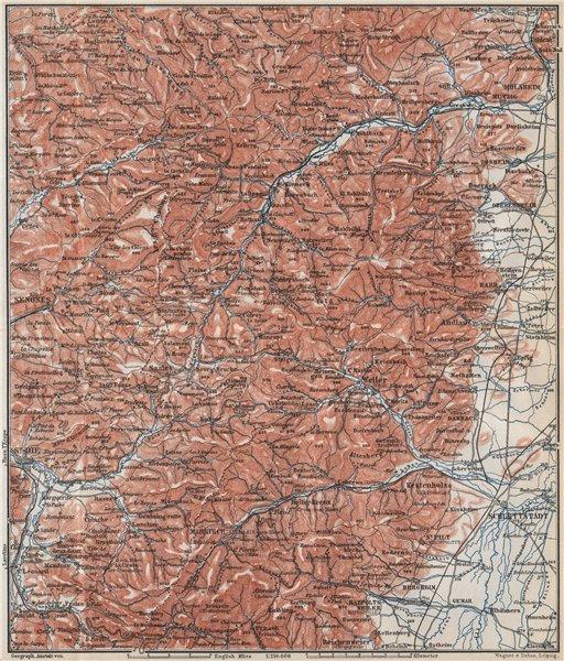 Associate Product CENTRAL VOSGES MOUNTAINS. St Die Schlettstadt Molsheim carte. BAEDEKER 1889 map