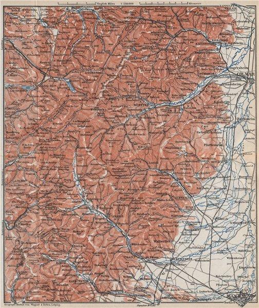 SOUTHERN VOSGES MOUNTAINS. Colmar Mulhouse. Haut-Rhin carte. BAEDEKER 1889 map