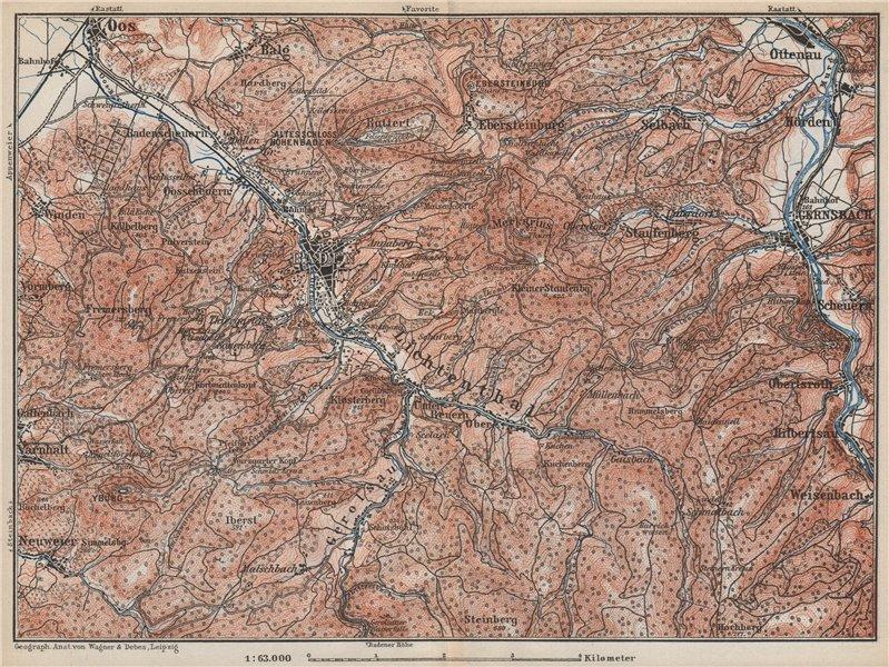 Associate Product BADEN-BADEN environs umgebung. Lichtental Oos Schwarzwald Black Forest 1889 map