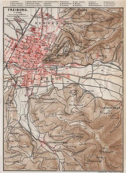 Associate Product FREIBURG town city stadtplan & umgebung. Gunterstal. Baden-Württemberg 1889 map