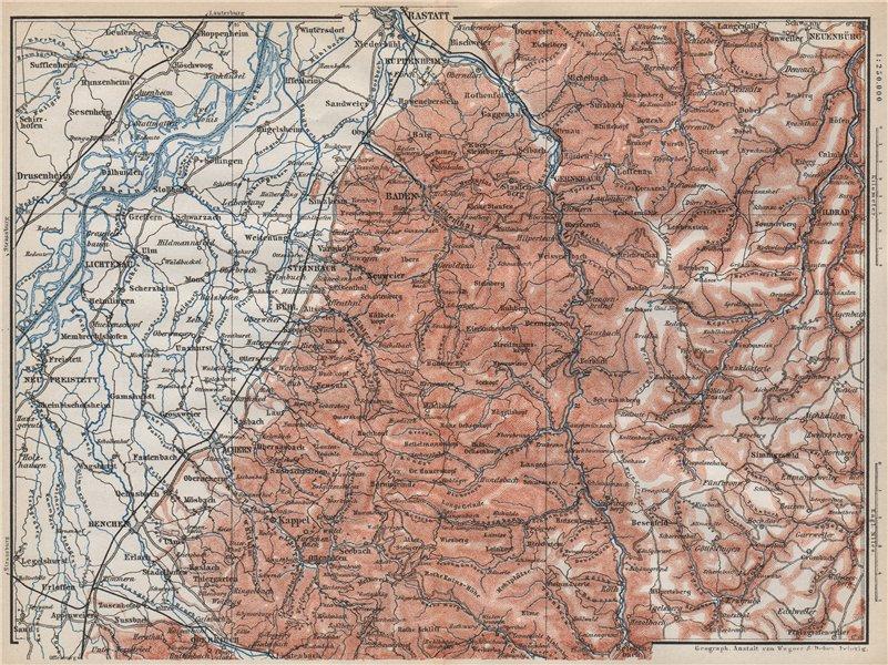 Associate Product NORDSCHWARZWALD. NORTHERN BLACK FOREST. Baden-Baden Wildbad. Germany 1889 map