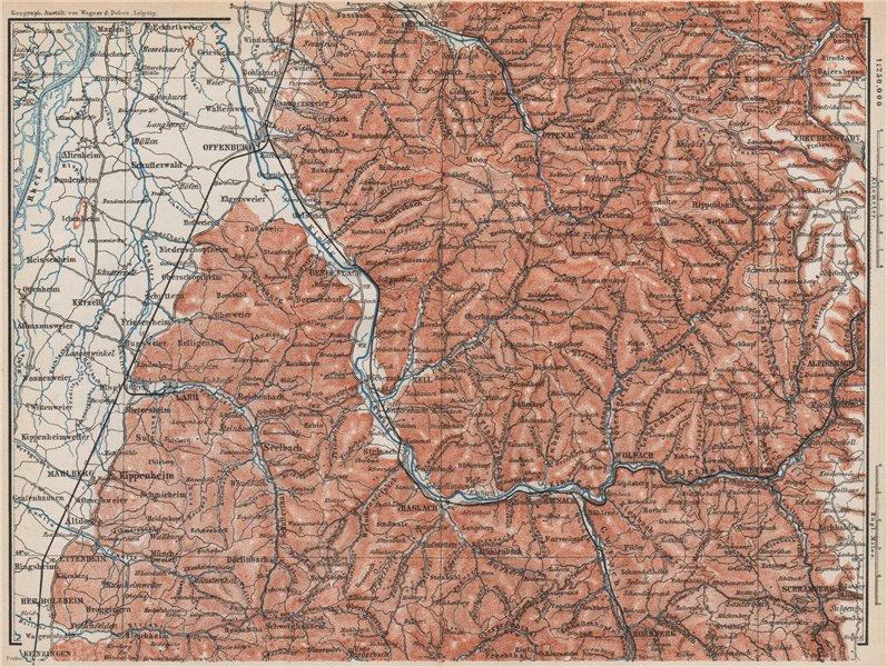Associate Product MITTEL SCHWARZWALD. CENTRAL BLACK FOREST. Offenburg Wolfach Schramberg 1889 map