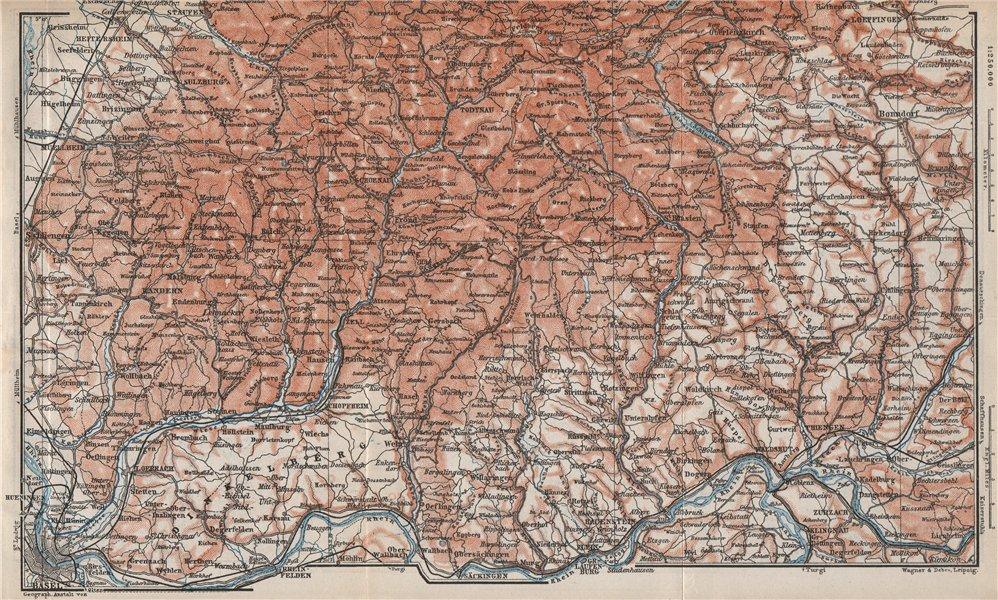 Associate Product SÜDSCHWARDWALD. BLACK FOREST SOUTHERN VALLEYS. Basel Lörrach Schopfheim 1889 map