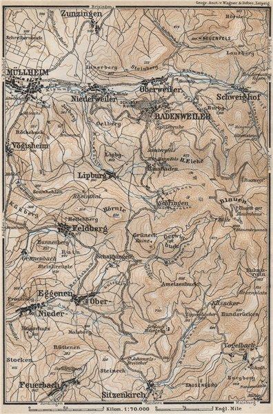 Associate Product BADENWEILER environs. Müllheim Markgräflerland Blauen Schwarzwald 1889 old map
