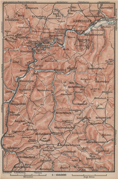 Associate Product AHR & ADENAUER BACH VALLEYS. Ahrweiler Altenahr topo-map. Germany 1892 old