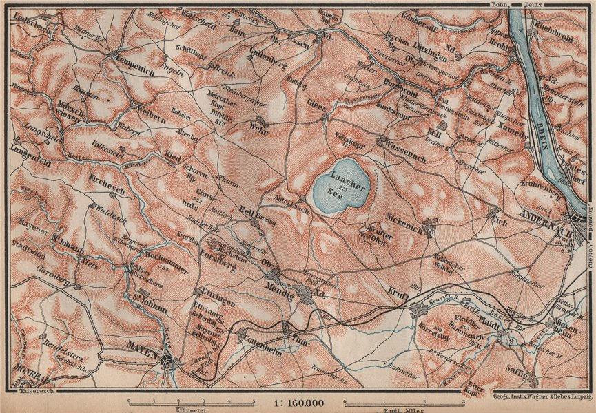 Associate Product LAACHER SEE. Vulkaneifel topo-map Andernach Mayen Rhineland-Palatinate 1892