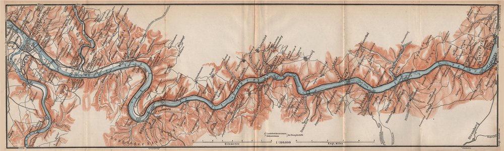 Associate Product RHINE/RHEIN. KOBLENZ-BINGEN Oberes Mittelrheintal Rhine Gorge topo-map 1892
