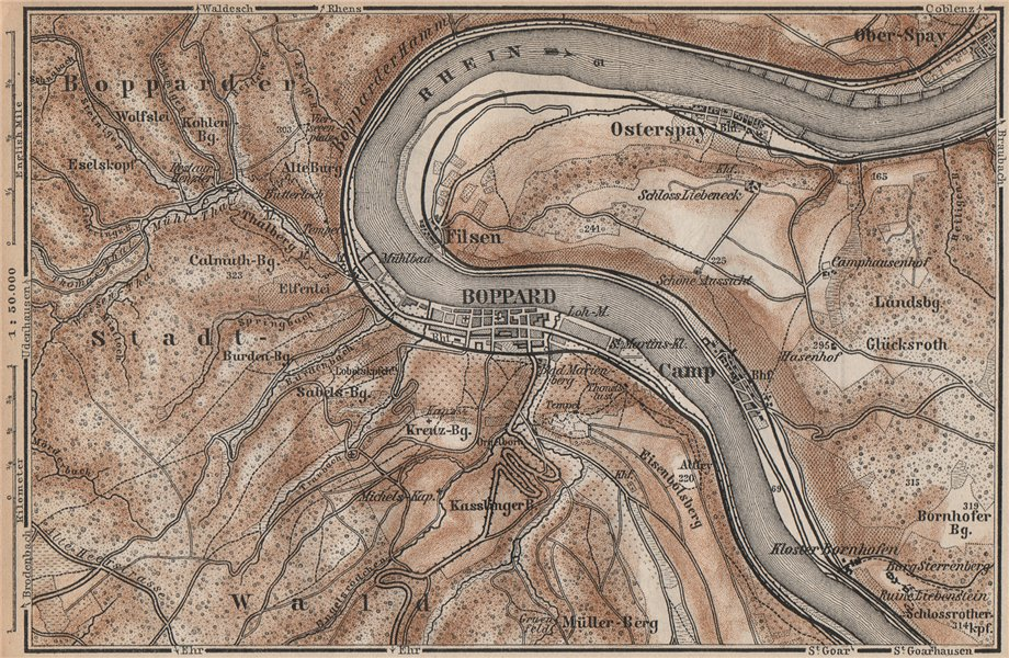Associate Product BOPPARD & OSTERSPAI. Filsen. Oberes Mittelrheintal. Rhine Gorge karte 1892 map