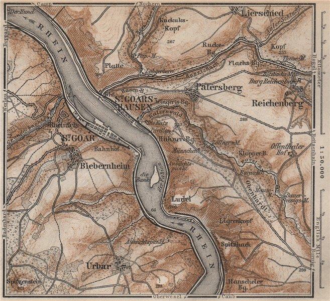 Associate Product SANKT GOAR ST GOARSHAUSEN Oberes Mittelrheintal Rhine Gorge karte SMALL 1892 map