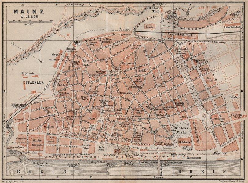 Associate Product MAINZ antique town city stadtplan. Rhineland-Palatinate. Mayence karte 1892 map