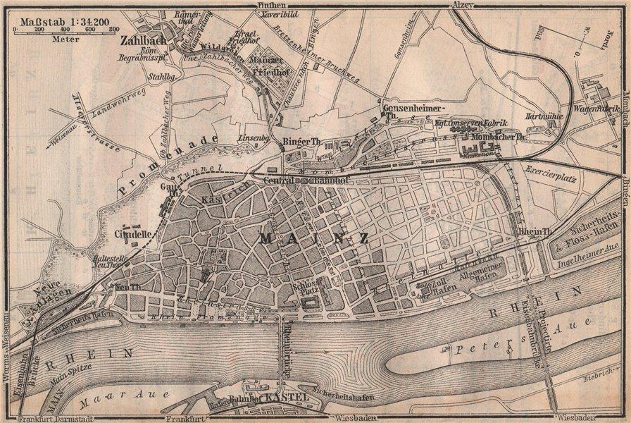 Associate Product MAINZ environs umgebung. Mayence. Rhineland-Palatinate.Deutschland 1892 map