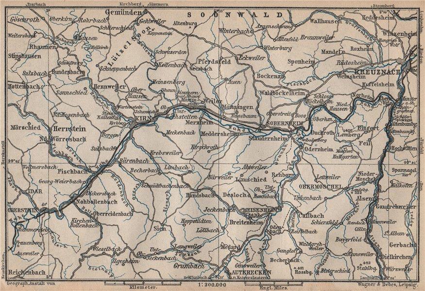 Associate Product NAHETAL. Idar-Oberstein Kirn Monzingen Rüdesheim Kreuznach Sobernheim 1892 map