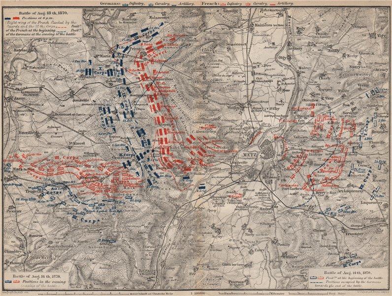 Associate Product FRANCO-PRUSSIAN WAR. Battle of Mars-La-Tour Borny–Colombey 1870 Metz 1892 map