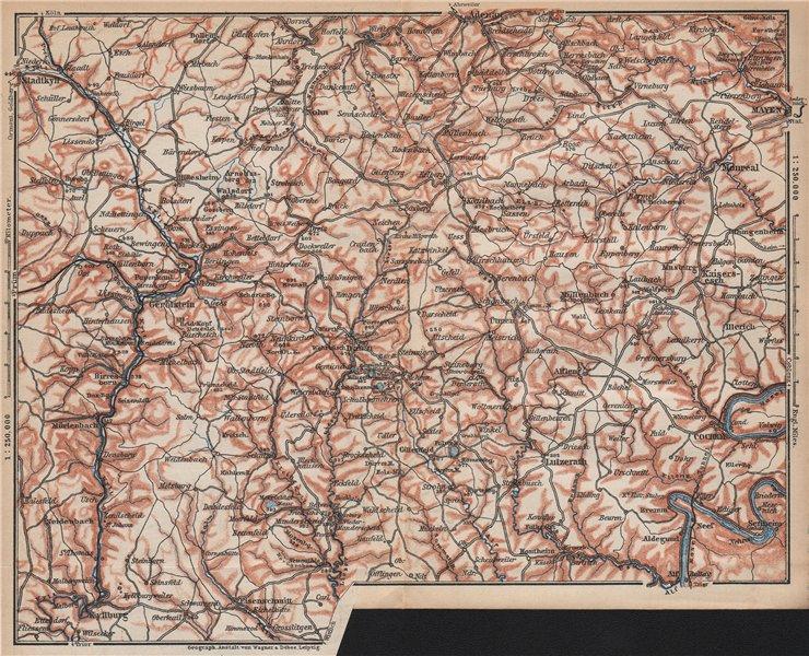 Associate Product VULKANEIFEL. THE VOLCANIC EIFEL topo-map. Gerolstein. Germany karte 1892