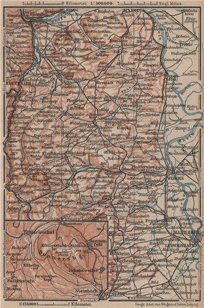 Associate Product RHEINHESSEN. RHENISH HESSE. Mainz Mannheim Worms Kreuznach. Germany 1892 map